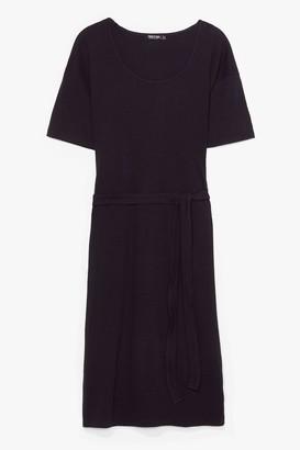 Nasty Gal Womens Tee Party Plus Ribbed Midi Dress - Black