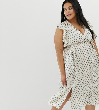 Glamorous curve plunge front midi dress with ruffle shoulders in smudge spot