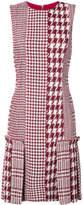 Oscar de la Renta patchwork houndstooth tweed dress