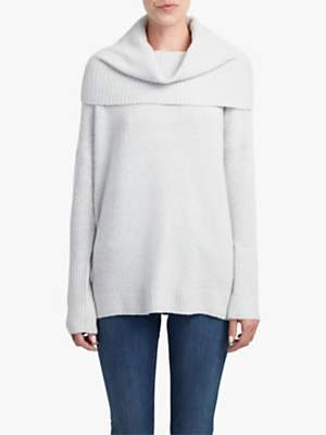 French Connection Flossy Off Shoulder Jumper, Dove Grey