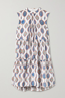 Chloé Tiered Printed Silk Crepe De Chine Mini Dress - White