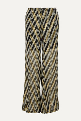 Figue Printed Metallic Fil Coupe Silk-blend Wide-leg Pants - large