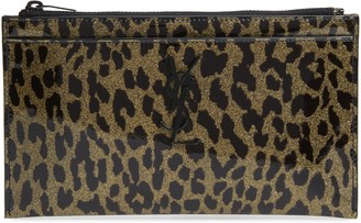 Saint Laurent Metallic Leopard Print Leather Pouch