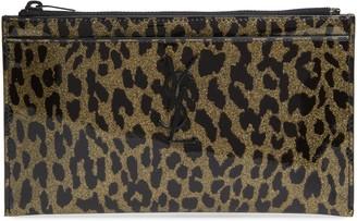 Saint Laurent Metallic Leopard Print Leather Pouch