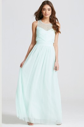 Little Mistress Seafoam Embellished Pleat Detail Maxi Dress