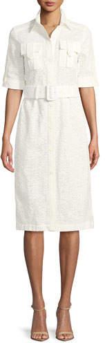 Derek Lam Short-Sleeve Button-Down Lace Shirtdress