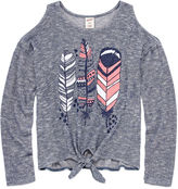 Arizona Long Sleeve Cold Shoulder Sweater Knit Top - Girls' 7-16 and Plus