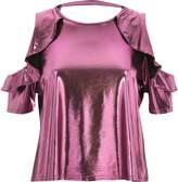 River Island Womens Pink metallic frill cold shoulder top