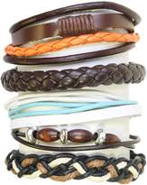 Neptune Giftware Set Of 5 Wood Bead / Cord & Leather Surf Surfer Style Bracelets Wristbands - 261