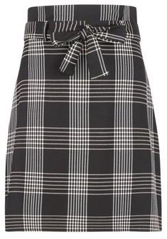 Dorothy Perkins Womens Black Check Tie Waist Mini Skirt, Black