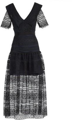 Self-Portrait Midi V-neck Dress