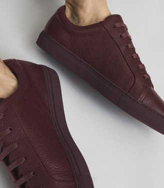 Reiss Luca - Tumbled Leather Sneakers in Pomegranate