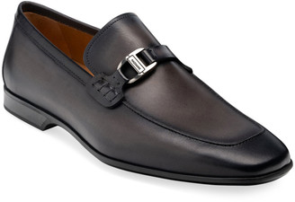 Magnanni Men's Rambla Leather Buckle-Strap Loafers