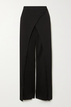 Cult Gaia Claudette Wrap-effect Satin Wide-leg Pants - Black