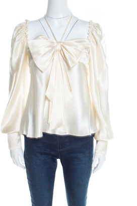 Escada Cream Satin Bow Detail Long Sleeve Blouse M
