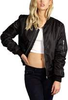 Sun-shine Trade Womens Autumn Casual Solid Quilted Lightweight Short Bomber Jacket Coat