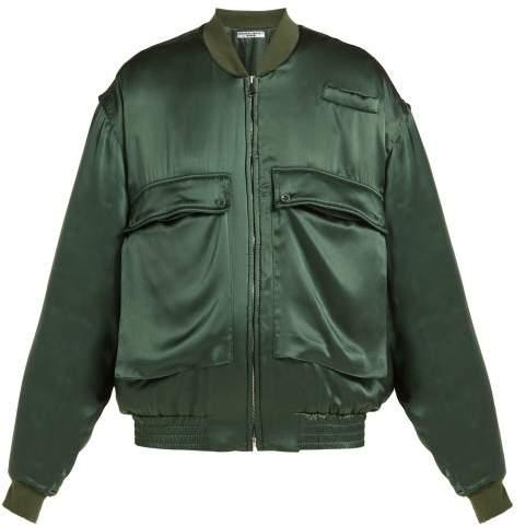 191c363fa Oversized Silk Satin Bomber Jacket - Womens - Green