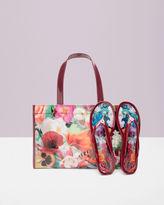 Floral Swirl Flip Flop And Bag Set