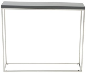 Euro Style Teresa Grey Lacquer and Polished Stainless Steel Console Table