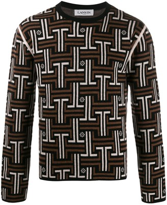 Lanvin JL jacquard knitted sweater