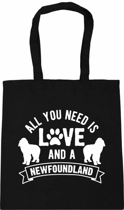 Hippowarehouse All you need is love and a Newfoundland Tote Shopping Gym Beach Bag 42cm x38cm 10 litres