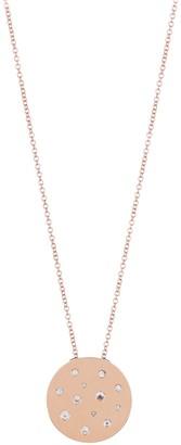 Ef Collection 14K Rose Gold CZ Disc Pendant Necklace