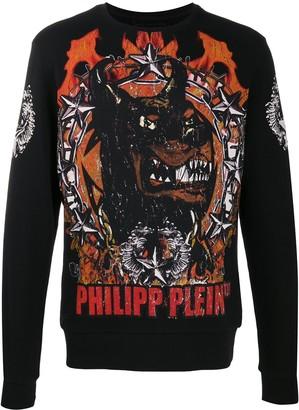 Philipp Plein Distressed Rottweiler Print Jumper