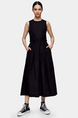Topshop Womens **Black Poplin Dress By Black