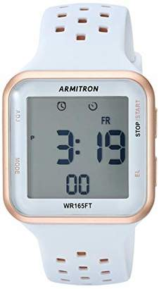 Armitron Sport Unisex 40/8417PBL Digital Chronograph Rose Gold-Tone and Perforated Silicone Strap Watch