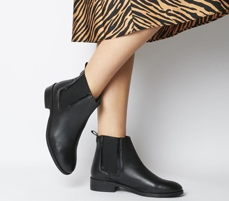 Office Acorn Feature Chelsea Ankle Boots Black Leather Patent Feature Chelsea