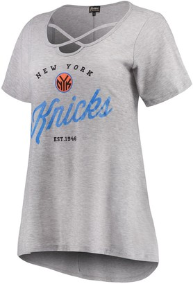 Women's Heathered Gray New York Knicks Criss Cross Front Tri-Blend T-Shirt