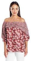 NY Collection Women's Printed 3/4 Sleeve Ruffle Off the Shoulder Blouse