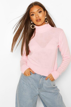 boohoo Roll Neck Crop Sweater