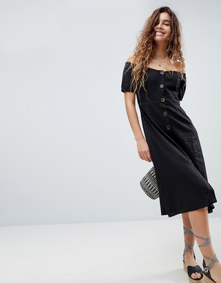 Asos Design Button Through Off Shoulder Midi Dress-Black