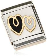 Nomination Composable BIG Women's Charm Bead-Double Heart-Stainless Steel - 18–Carat Gold-Plated and Partially Gold-Plated Enamel 032245 / 01