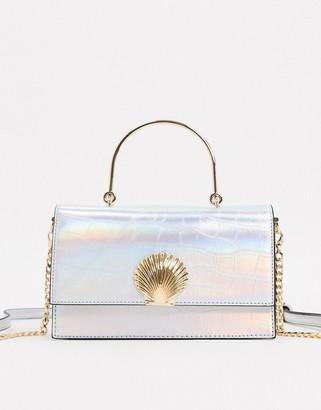 Aldo Dalda handle box bag with seashell trim