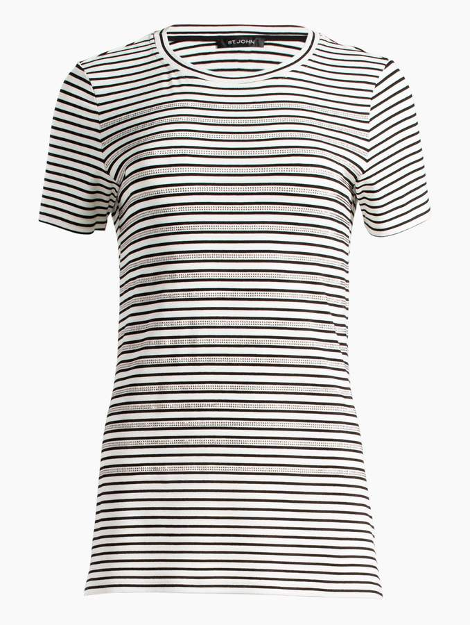 St. John Yarn Dyed Stripe Jersey Short Sleeve T-Shirt