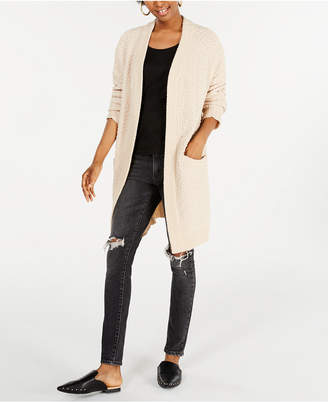 Say What Juniors' Open-Front Textured Cardigan