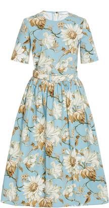 Oscar de la Renta Belted Floral Day Dress