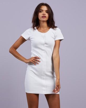 Stussy Women's White Mini Dresses - Mission Rib Tee Dress - Size 6 at The Iconic