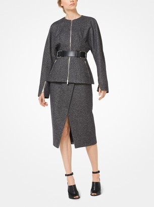 Michael Kors Herringbone Wool Zip Jacket