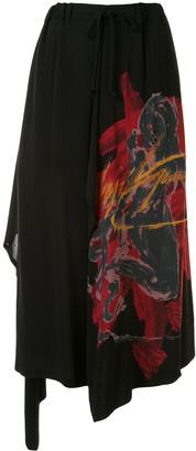 Yohji Yamamoto Draped Graphic Printed Trousers