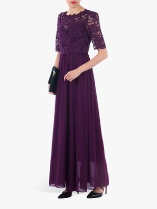 Jolie Moi Lace Overlay Maxi Dress