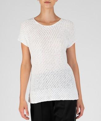 Atm Diagonal Stitch Pullover Sweater - Chalk