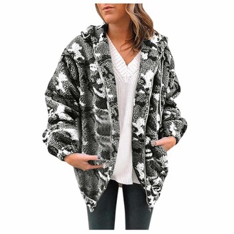 Celucke Womens Winter Warm Fleece Coat Camouflage Hooded with Pockets Zip Open Front Outwear