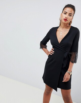 Asos Design DESIGN wrap dress with lace cuff-Black