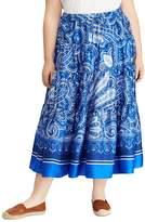 Lauren Ralph Lauren Plus Tiered Paisley Midi Skirt