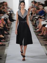 Oscar de la Renta Gingham-lapel sleeveless dress