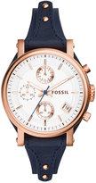 Fossil Women's Chronograph Original Boyfriend Blue Saddle Leather Strap Watch 38mm ES3838
