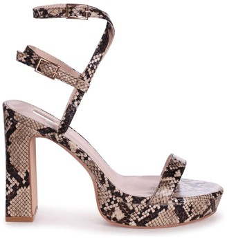 Chloé Linzi Beige Snake Print Platform Heels With Double Crossover Ankle Straps
